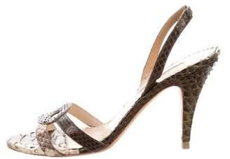 Oscar de la Renta Python Slingback Sandals