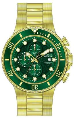Invicta 25299 Men's Pro Diver Green Dial Yellow Gold SS Chronograph Watch