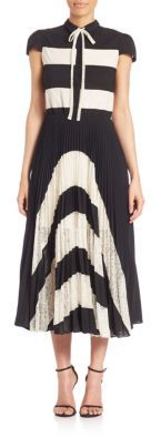 Alice and Olivia Gale Panel Collared Cap Sleeve Pleated Dress $798 thestylecure.com