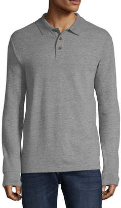 ST. JOHN'S BAY Long Sleeve Jersey Polo Shirt