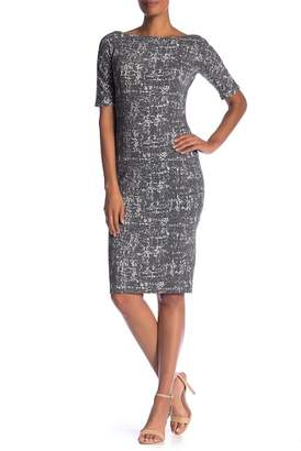 Maggy London Short Sleeve Abstract Textured Knit Dress