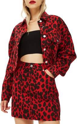 Topshop Leopard Print Denim Jacket