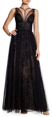 Vera Wang Neck Strap Lace Gown