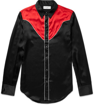 Saint Laurent Slim-Fit Contrast-Panelled Silk Western Shirt $990 thestylecure.com