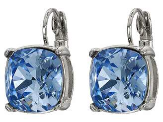 Kenneth Jay Lane Silver Eurowire/Light Sapphire 12 mm Faceted Square Stone Earrings