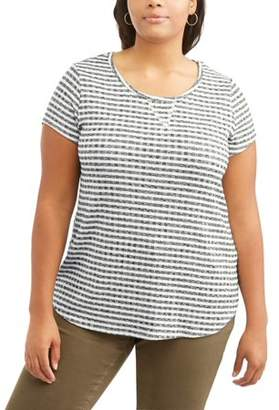 Mia Kaye Women's Plus Short Sleeve Striped Scoop Neck Ribbed T-Shirt
