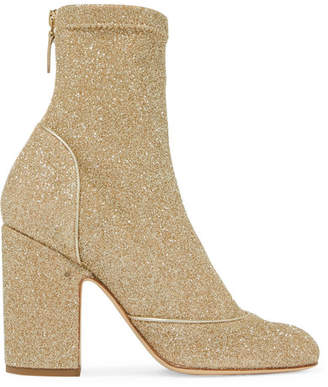 Laurence Dacade - Melody Metallic Stretch-knit Boots - Gold $940 thestylecure.com