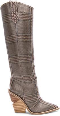 Fendi Cutwalk Check Knee High Western Boots in Grey | FWRD
