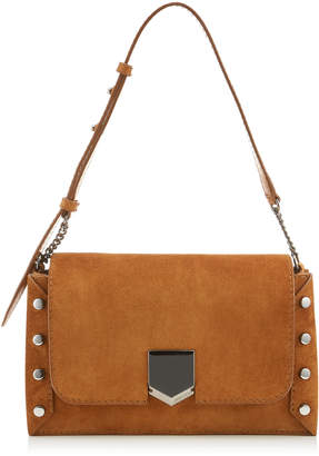 Jimmy Choo LOCKETT SHOULDER BAG Nutmeg Suede Shoulder Bag