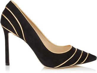 Jimmy Choo ROMY 100 Black Suede Pointy Toe Pumps with Gold Metallic Nappa Leather Piping