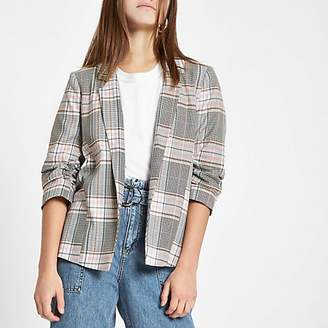 River Island Petite pink check ruched sleeve blazer