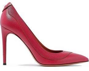 Valentino Stud-Embellished Textured-Leather Pumps