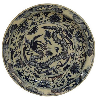 """One Kings Lane 16"""" Floral Dragon Decorative Plate - Blue/Ivory"""