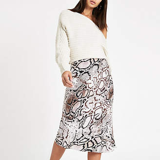 River Island Grey snake print bias cut midi skirt