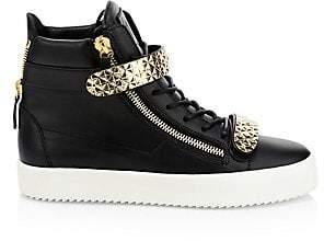 Giuseppe Zanotti Men's Leather High-Top Double Strap Sneakers