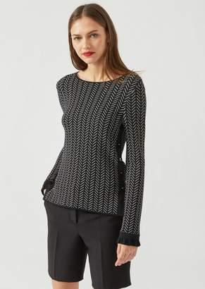 Emporio Armani Sweater With Contrasting Herringbone Jacquard Design