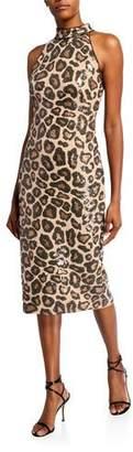 SHO Sequin Cheetah Sleeveless High-Neck Dress