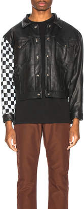 Enfants Riches Deprimes Checkered Sleeve Leather Jacket in Black & White | FWRD