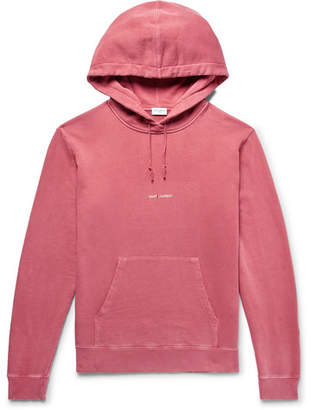 Saint Laurent Logo-Print Distressed Loopback Cotton-Jersey Hoodie - Men - Pink