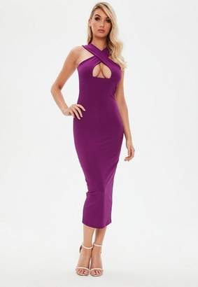 Missguided Purple Ribbed Cross Front Ankle Grazer Dress