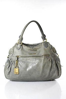 Miu MiuMiu Miu Gray Leather Shoulder Handbag Size Medium