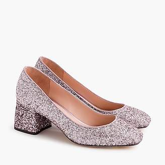 J.Crew Block-heel pumps in glitter