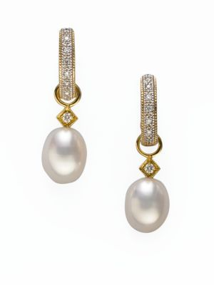 Jude Frances Classic White Pearl, Diamond & 18K Yellow Gold Briolette Earring Charms