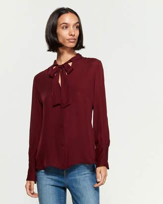 Nili Lotan Silk Della Draw Collar Long Sleeve Blouse