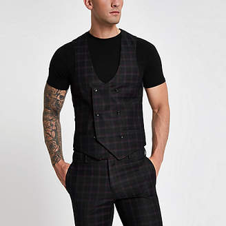 River Island Black and burgundy check suit vest