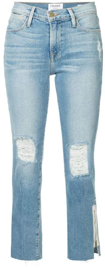 Le High raw edge exposed zipper jeans