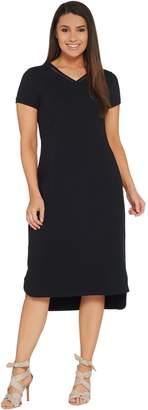Halston H By H by Petite Midi Length Hi-Low T-Shirt Dress