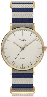 Timex Weekender Fairfield Womens Blue and White Stripe Fabric Strap Watch $51.96 thestylecure.com