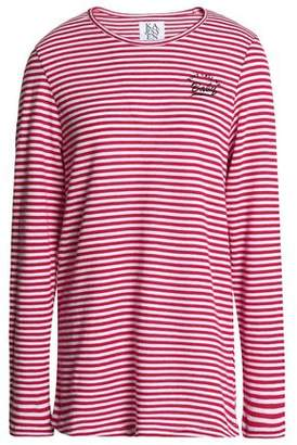 Zoe Karssen Embroidered Striped Cotton-Blend Jersey Top