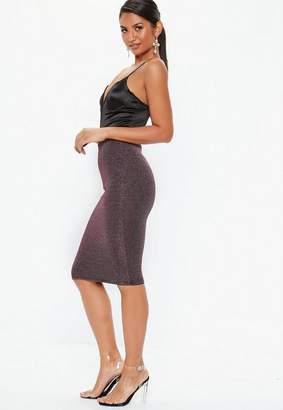 Missguided Glitter Midi Skirt