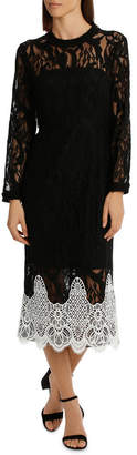 High Neck Black Lace Dress With Applique