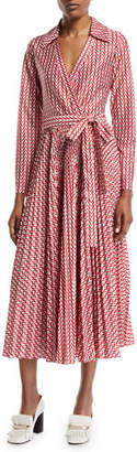 Valentino Long-Sleeve Allover V Logo Self-Belt Ankle-Length Wrap Dress