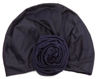 Julia Clancey - Edith Reversible Silk Turban Hat - Womens - Navy
