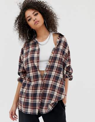 Asos Design DESIGN long sleeve boyfriend shirt in brown check