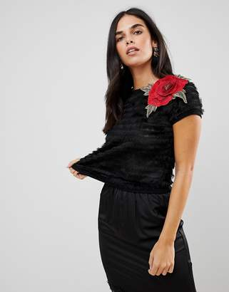 Traffic People Textured Cropped Top With Rose Applique