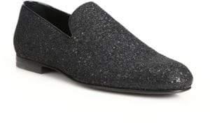 Jimmy Choo Sloane Glitter Slip-On Loafers