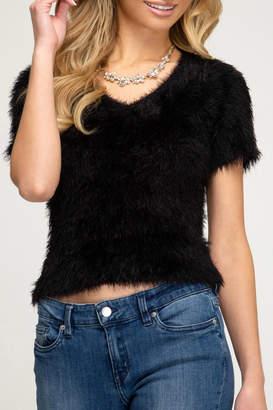 She + Sky V-Neck Fuzzy Sweater Tee