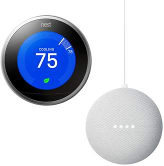 Nest Learning Thermostat (3rd Generation) + Google Home Mini Bundle