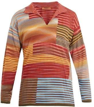 Missoni Long-sleeved open-neck stripe sweater