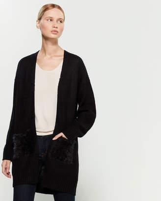 RD Style Faux Fur-Pocket Long Sleeve Cardigan