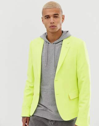 Asos Design DESIGN skinny crop blazer in yellow