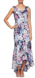 Alex Evenings Floral Print Cowl Neck Evening Gown