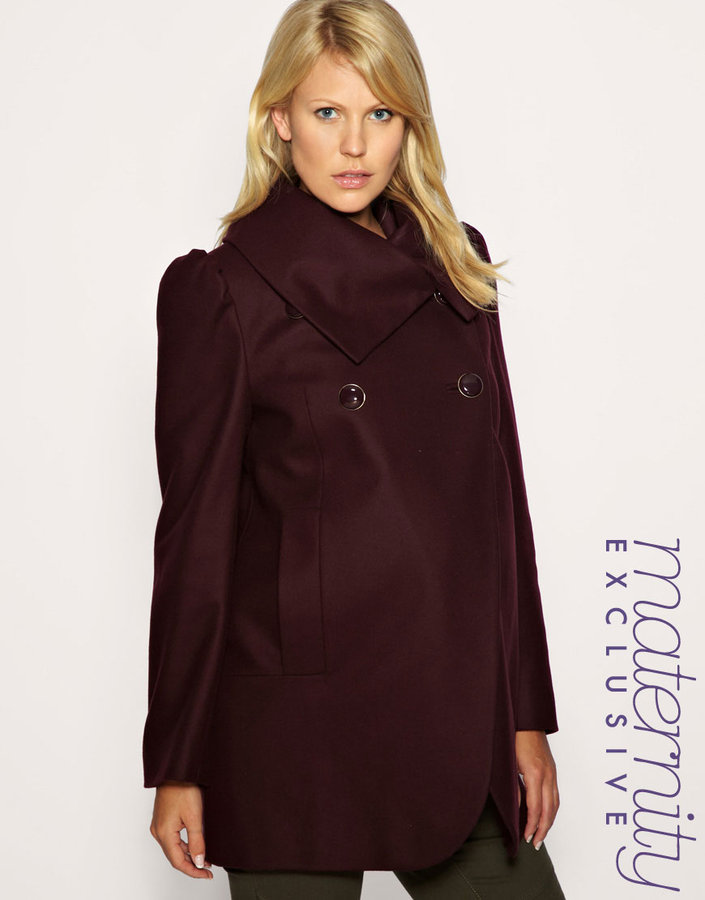 French Connection Maternity Funnel Neck Wrap Coat Exclusive to ASOS