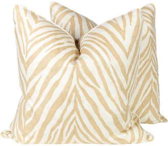 One Kings Lane Vintage Caramel Linen Zebra Pillows - Set of 2 - Ivy and Vine