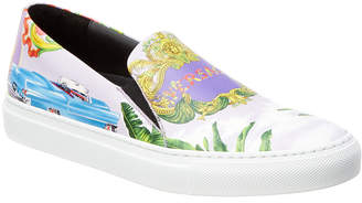 Versace Beverly Palm Print Leather Slip-On Sneaker