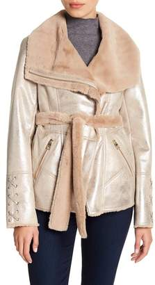 GUESS Metallic Faux Fur Jacket